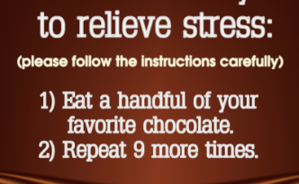 To Relieve Stress Please Follow The Instructions Carefully 1 Eat A Handful Of Your Favorite C Chocolate Quotes Funny Chocolate Quotes Chocolate Humor