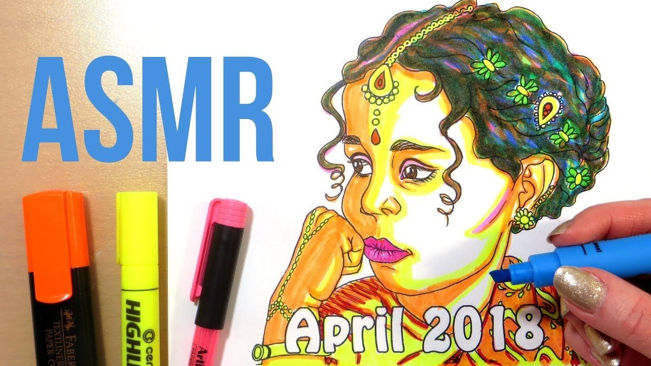 ASMR Coloring with Markers No Talking || Girl Coloring ...