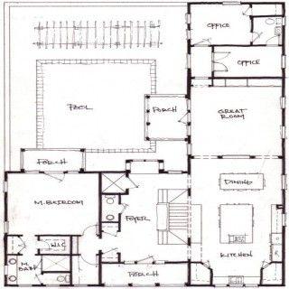 Good L Shaped House Design For Back Corner Of Camp Expansion.