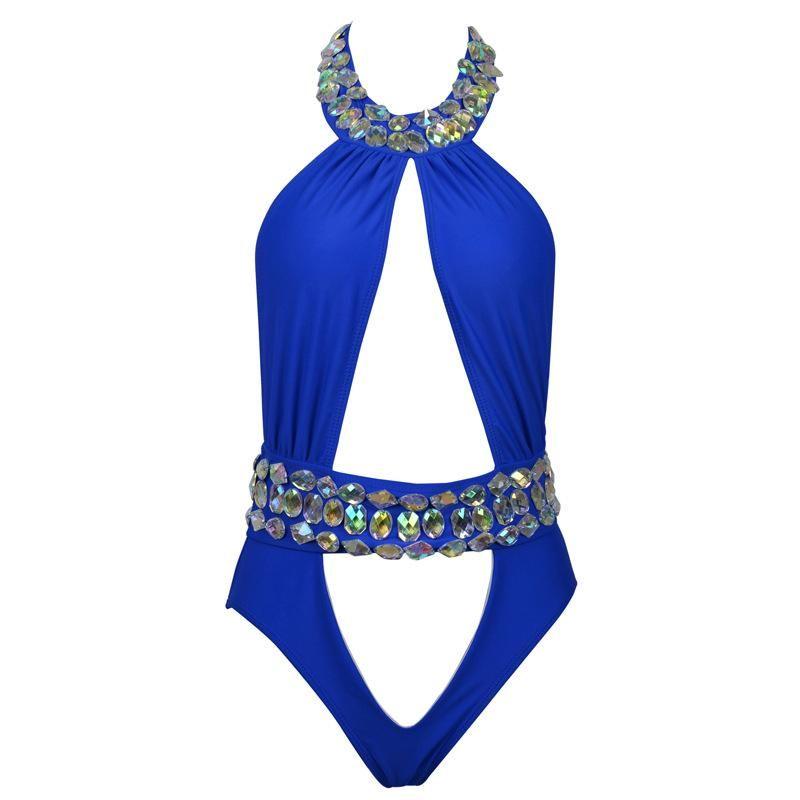 4f4881280f 2018 Sexy One-Piece Suits Backless High Neck Rhinestone Swimsuit Diamond  Luxury Swimwear Women Crystal Bodysuit Bathing Suit
