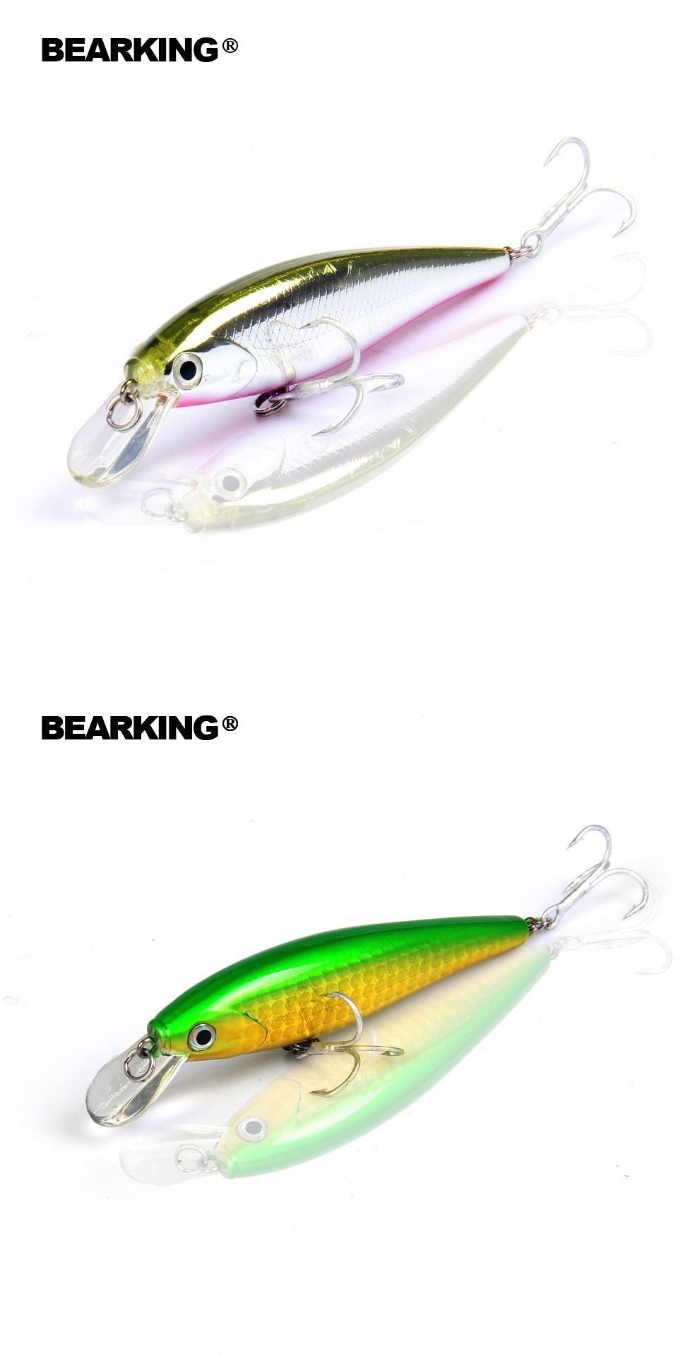 Retail Fishing Tackle New Modelbearking Perfect Action Minnow78mm Spoon Lure Spinner Bait Metal 10 Pcs Plus Box 92g
