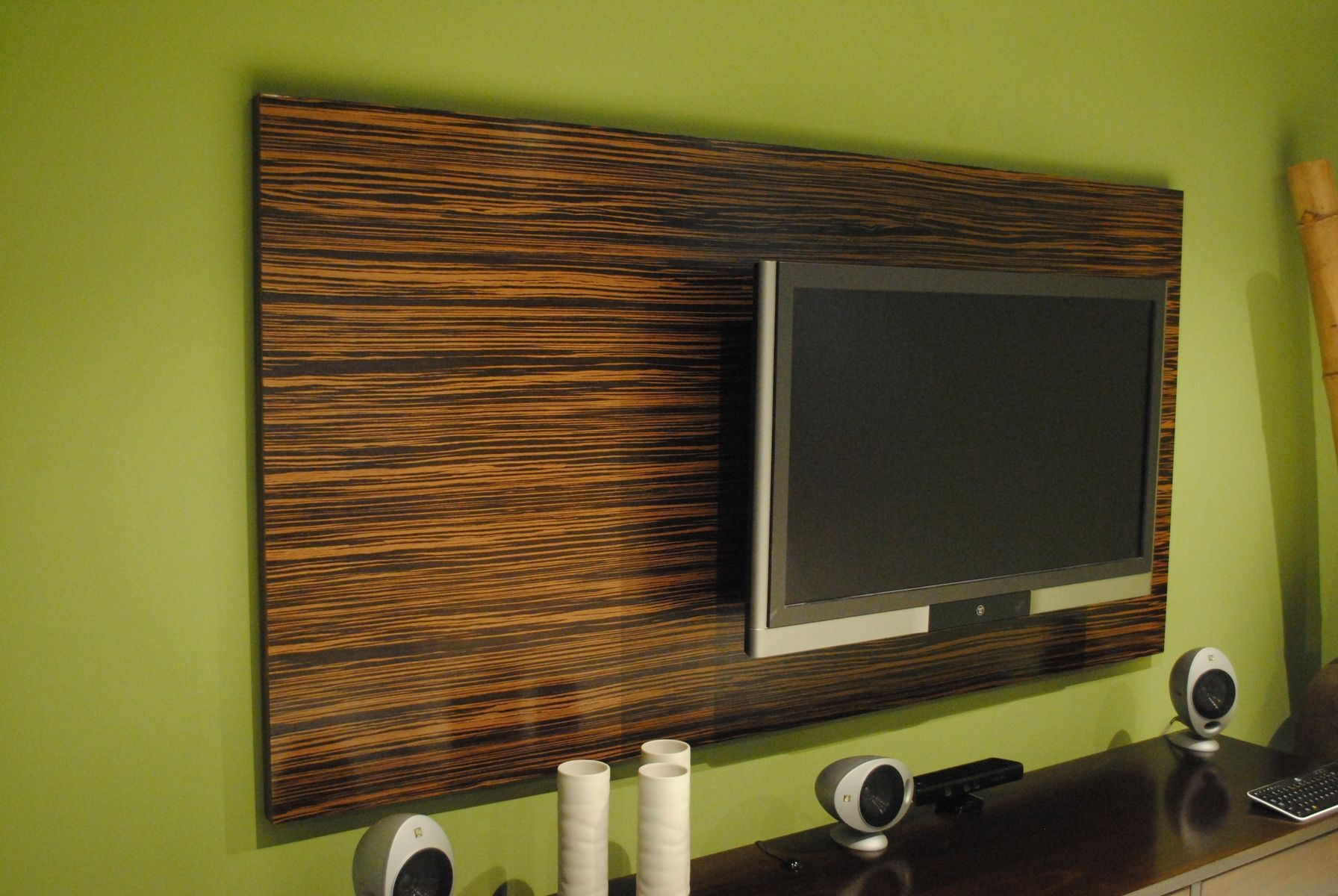 custom made macassar ebony wood wall tv panel - Tv Wall Panels Designs