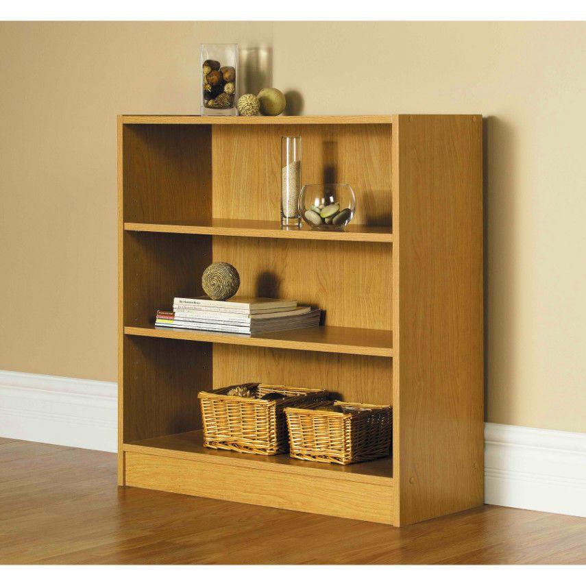 Wood Storage Shelving Bookcase Wide Oak 3 Shelf Adjustable Free Shipping New Mainstays Artscraftsmissionstyle 3 Shelf Bookcase Shelves Wide Bookcase