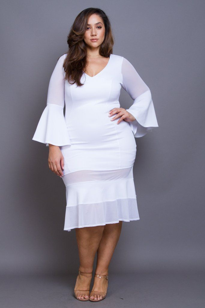Plus size dress featuring a bell long sleeve, v neck lining, midi ...
