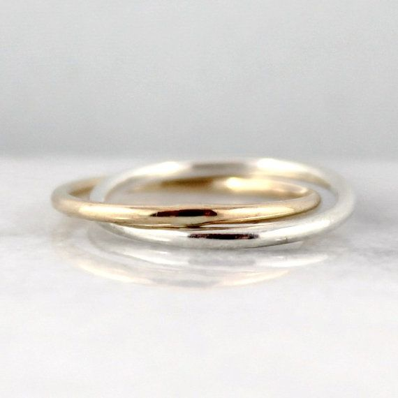 Infinity Ring Intertwined Rolling Rings Sterling Silver And 14k Yellow Gold Filled Wedding Band Best Friends Promise