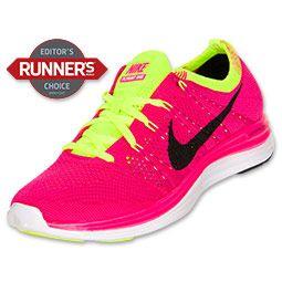 online store 6c104 0ea28 Women s Nike Flyknit Lunar 1+ Running Shoes   FinishLine.com   Pink  Flash Black Fireberry Volt