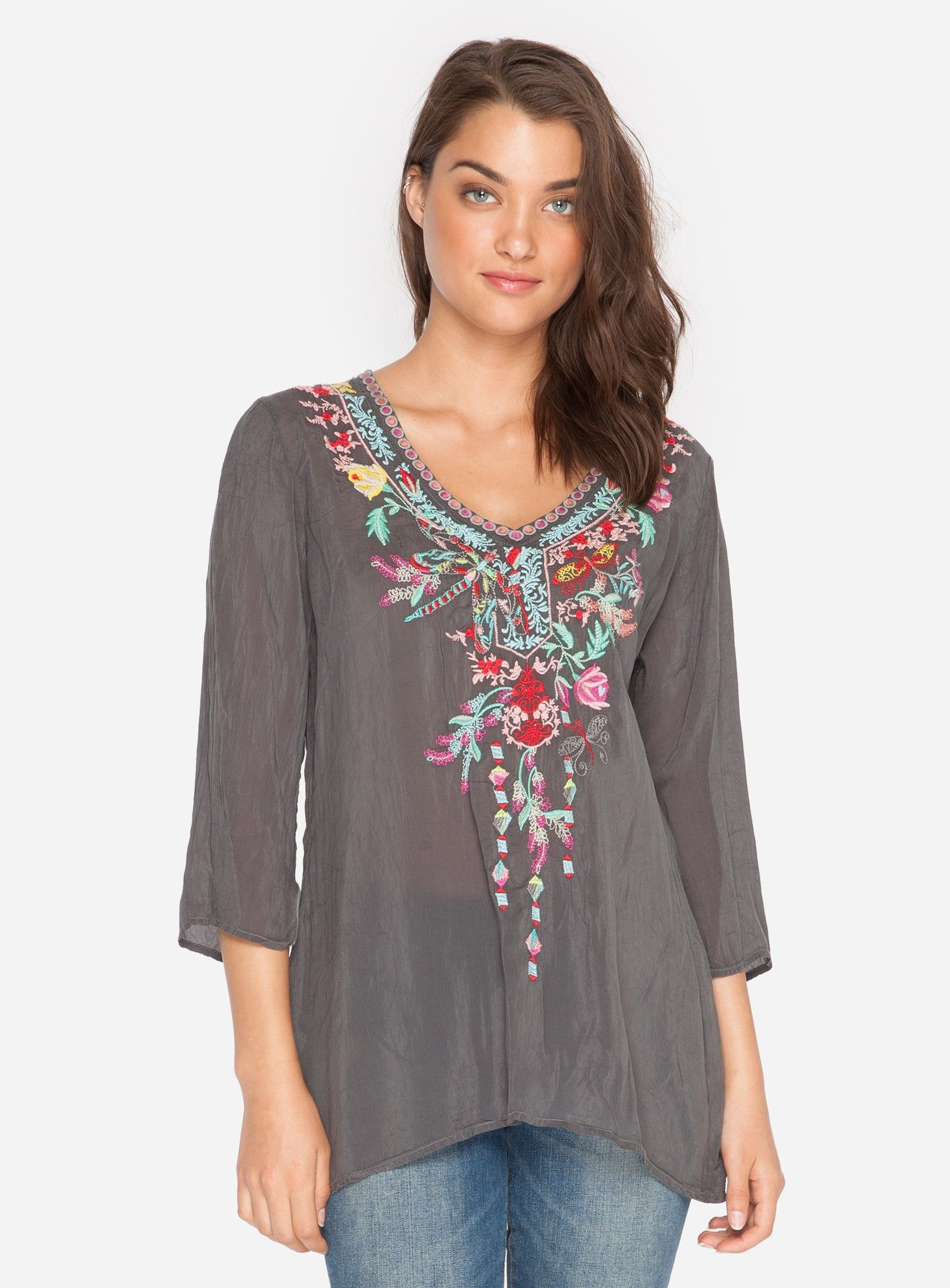 Johnny was long sleeve eyelet tunic in pink blush save 63 lyst - Boho