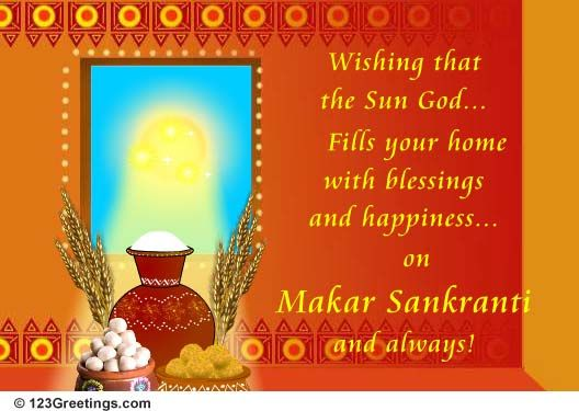 Its makar sankranti on this day the sun begins its northward makar sankranti cards free makar sankranti wishes greeting cards 123 greetings m4hsunfo