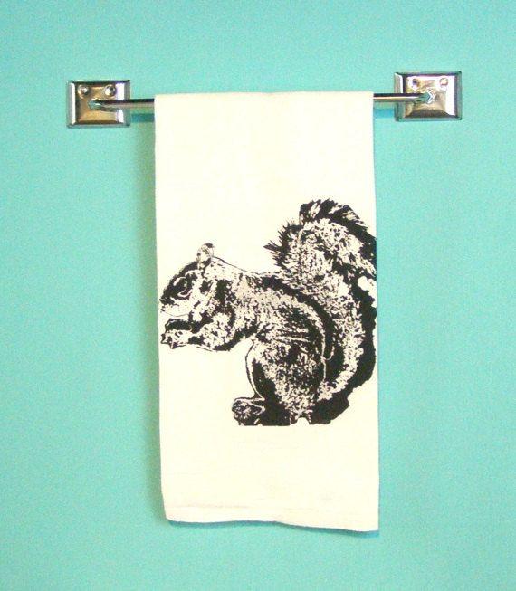 Kitchen Towel Squirrel Woodland Retro Kitchen By MoxieMadness, $10.00
