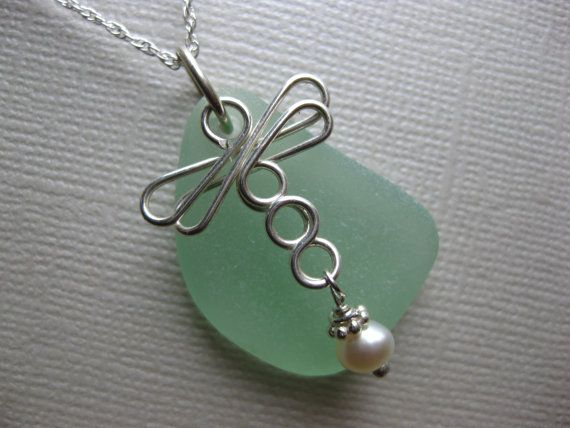 SS Dragon fly large Seafoam Seaglass necklace by SamiSeaglass, $26.00