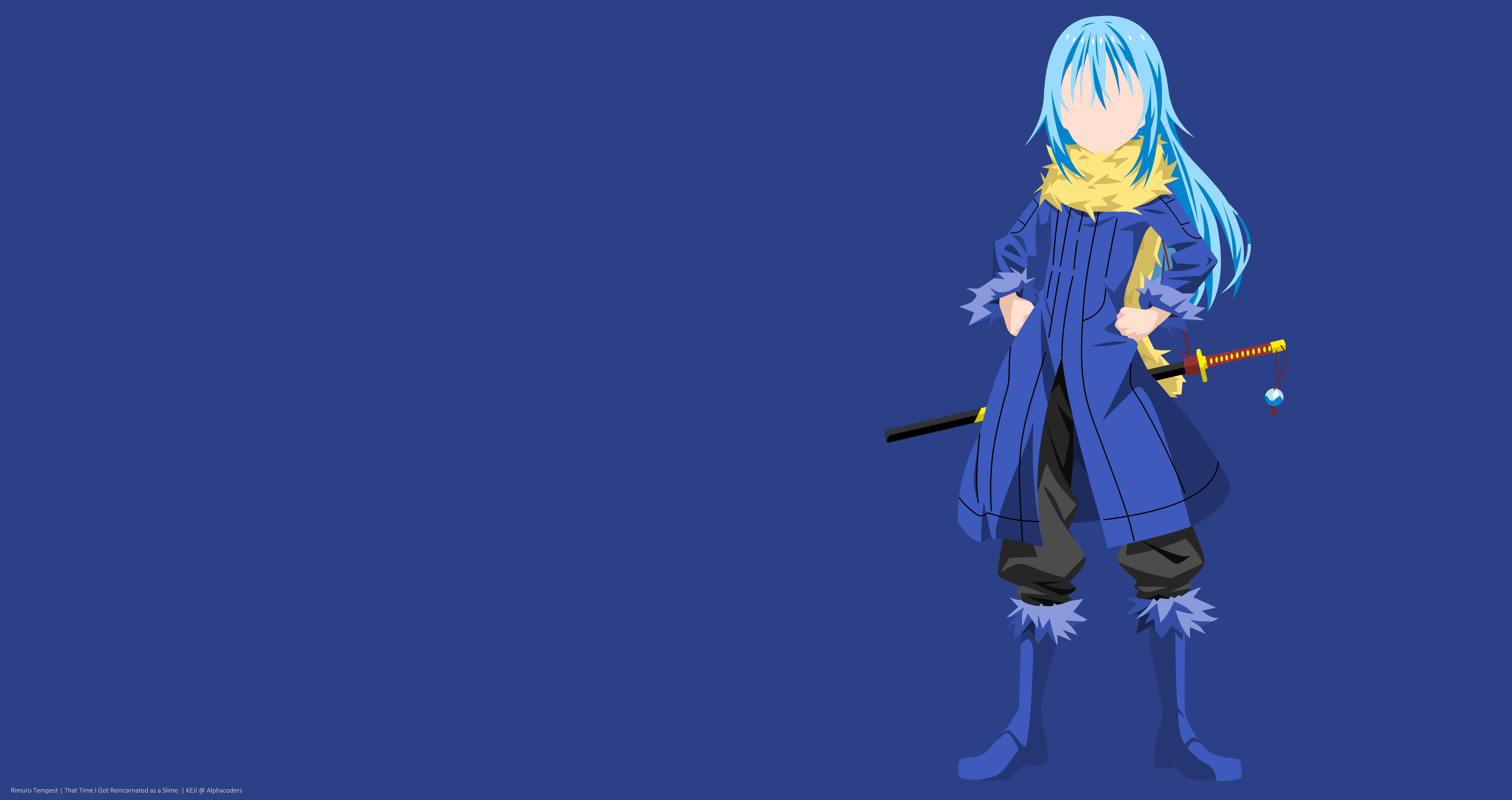 Anime That Time I Got Reincarnated As A Slime Girl Minimalist Rimuru Tempest Sword Tensei Shitara Slime Datta Ken 8k Wallpa Slime Slime Wallpaper Tempest