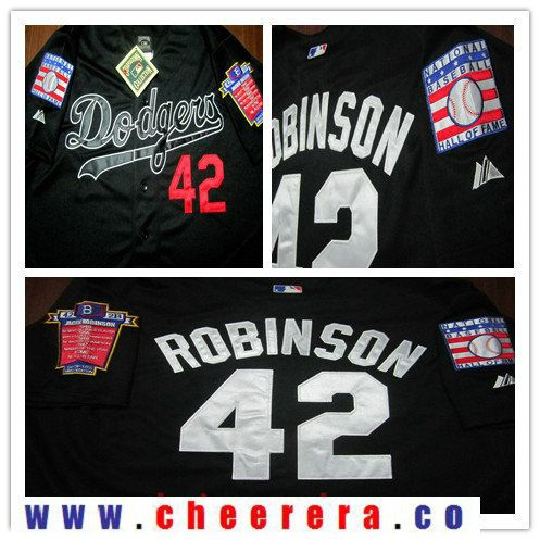 Men s Brooklyn Dodgers  42 Jackie Robinson Black Cooperstown Collection  1955 Hall Of Fame   Dual 9fbf8b916f6