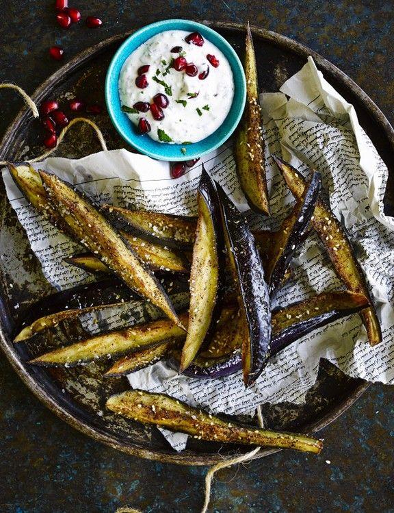 Fried aubergine sticks with sumac and honey images