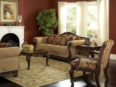 Odessa Traditional Wood Trim Chenille Sofa Couch Set Living Room ...