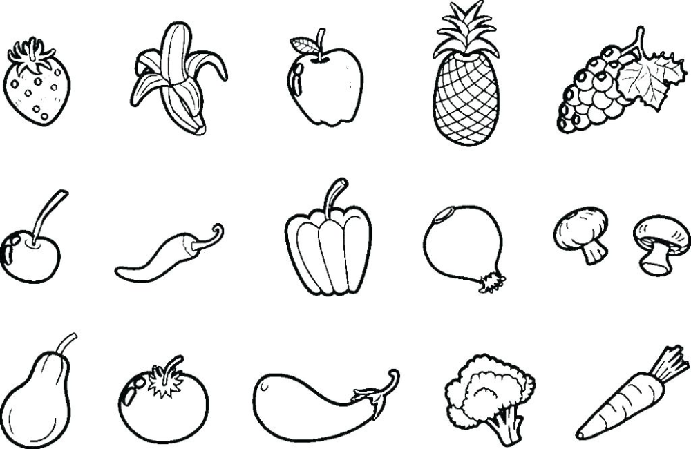 Focus Pictures Of Fruit And Vegetables To Colour Fruits Veggies Coloring Pages Vegetable Page Nextbook Co Editor Fruta Flores Craquelado