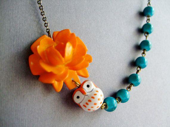 Owl NecklaceOwl JewelryOrange JewelryFlower by RachelleD on Etsy, $32.00