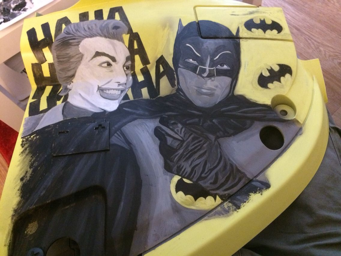 Bat Tery Cover For My Batvan Hand Painted In Acrylics