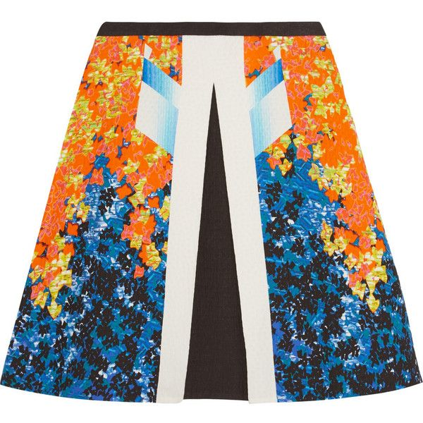 Peter Pilotto Carmen cotton-blend cloqué skirt (£266) ❤ liked on Polyvore featuring skirts, orange, multi colored skirt, knee high skirts, peter pilotto skirt, button skirt и knee length skirts