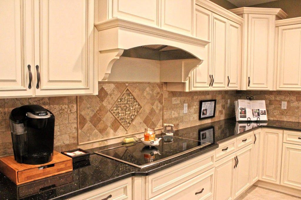 kitchen cabinets, two tone granite, tumbled stone backsplash in ivory