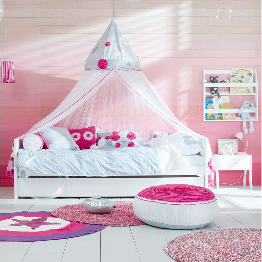 Childrens Beds With Pull Out Bed Underneath Lifetime Ibiza Bloom Girls Bed With Canopy Pullout Drawer In