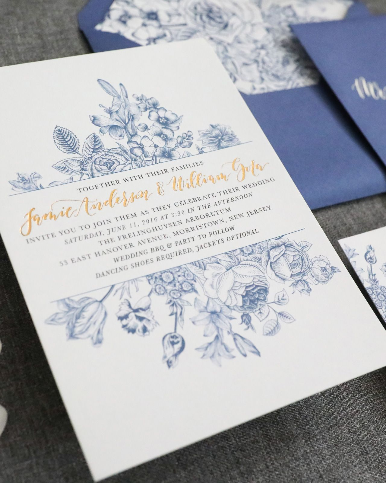 Chinoiserie Inspired Blue And White Wedding Invitations By Honeybee Paper Co