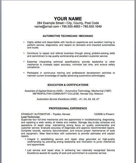 Auto Mechanic Resume Template -   topresumeinfo/auto-mechanic