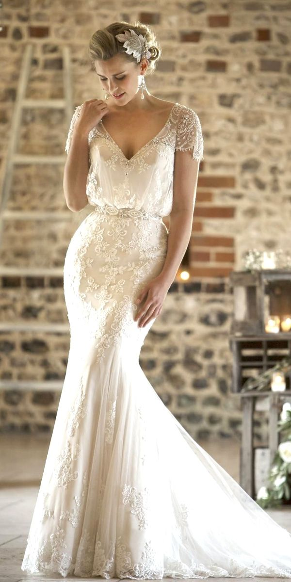 04930917e8 lace vintage mermaid wedding dresses with cap sleeves Vintage Wedding  Dresses