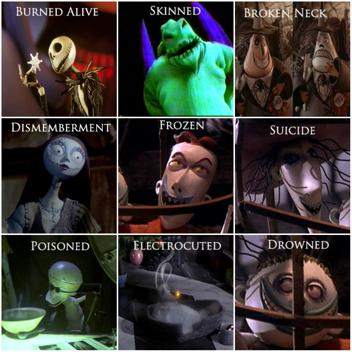 """halloweenpictures: """"The Nightmare Before Christmas: How They Died ..."""