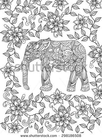 paisley elephants to coloring pesquisa google - Coloring Page Elephant Design