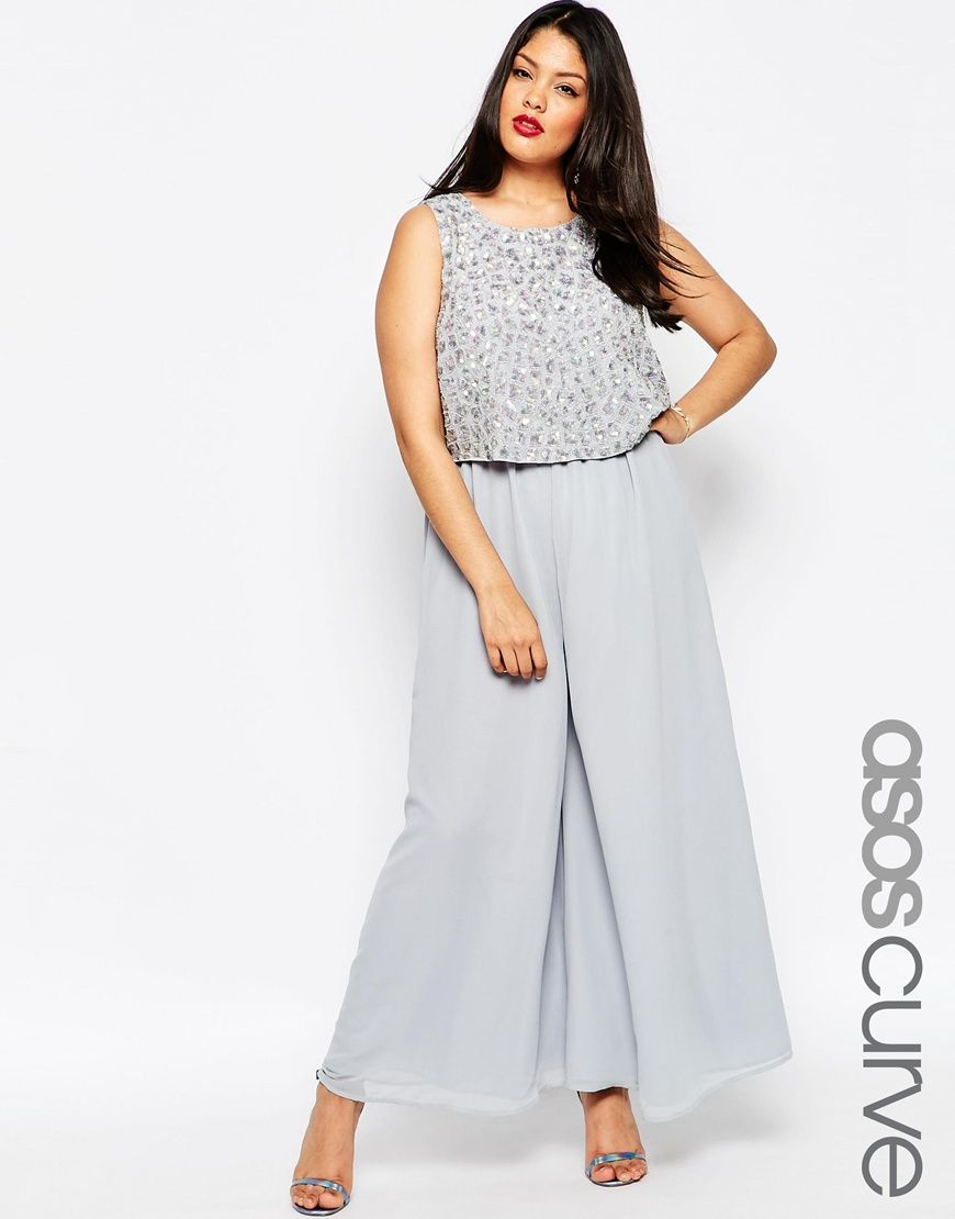 d8d466650512 ASOS CURVE Premium Jumpsuit With Palazzo Pants And Embellished Overlay