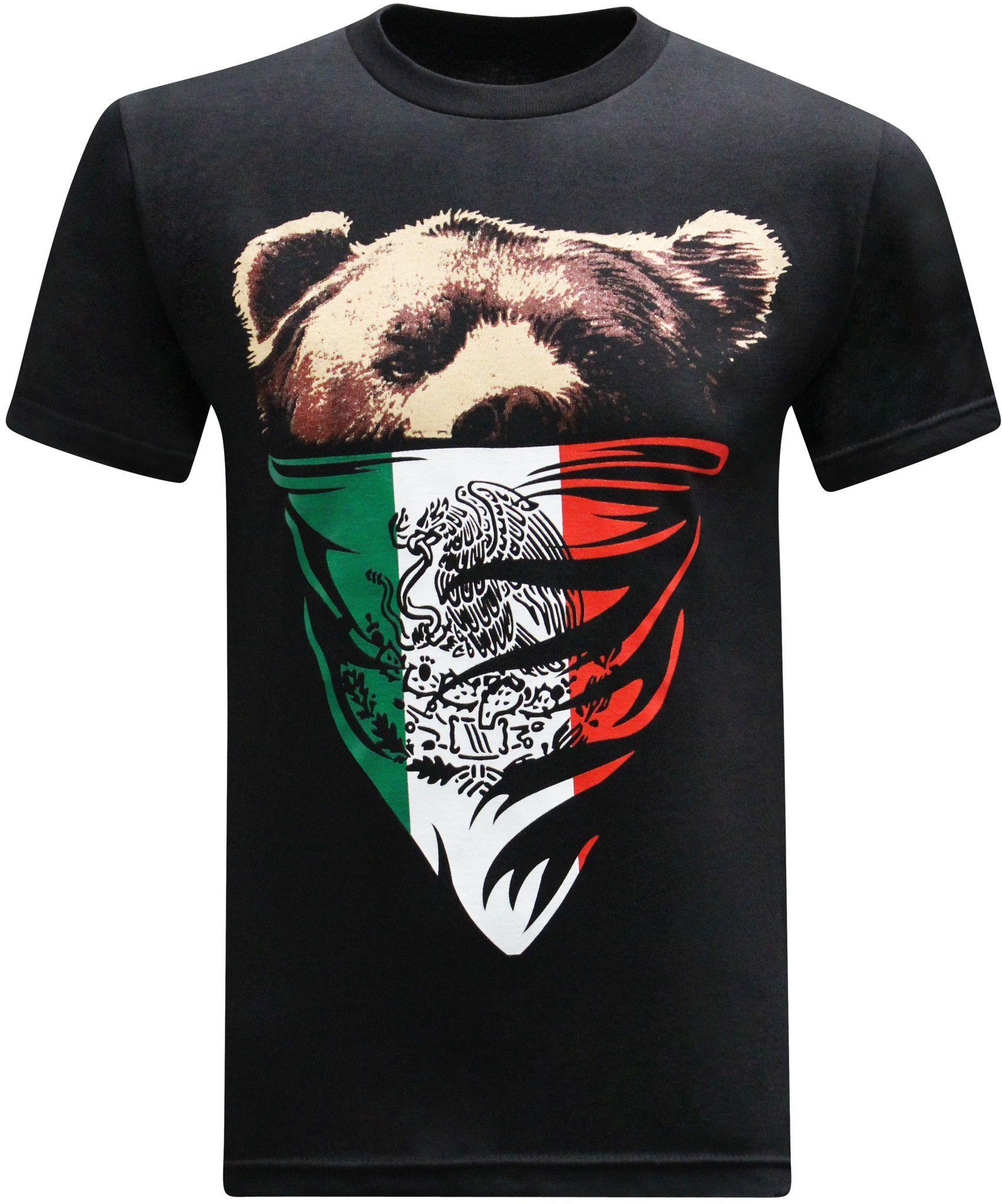 7dccf423163224 California Republic Mexican Flag Bandana Bear Men s T-Shirt