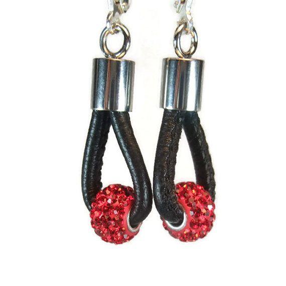 Black leather earrings, rhinestone earrings, ruby rhinestone, loop earrings, womens earrings, hoop earrings, leather jewelry