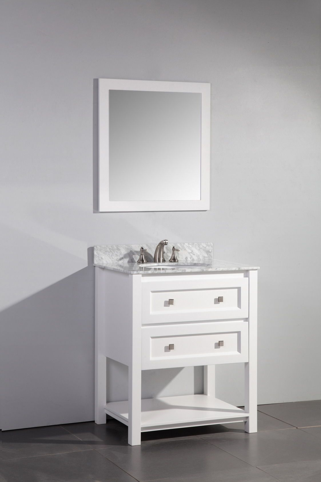 High Quality Contemporary 30 Inch Single Sink Bathroom Vanity Set White Finish