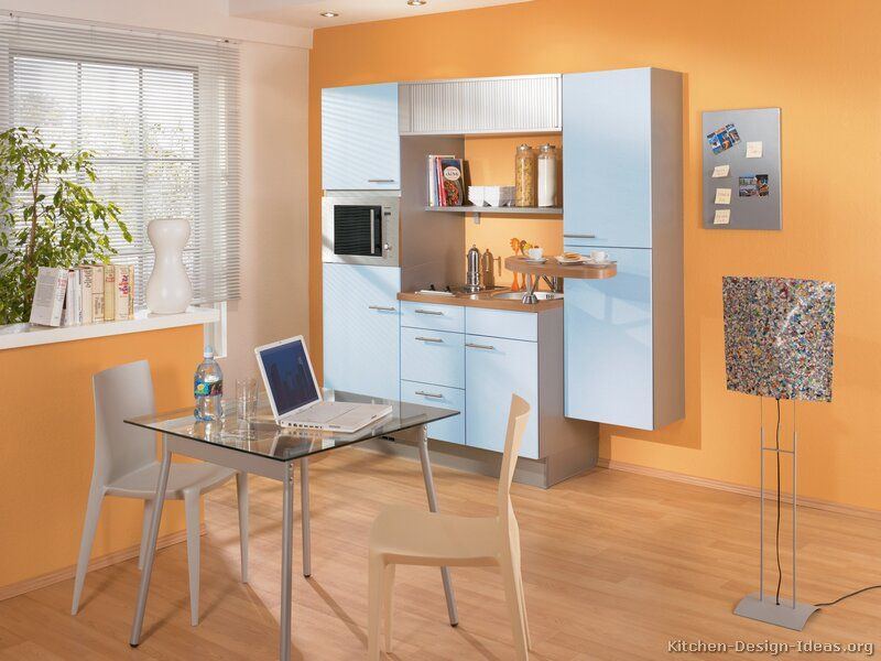 Light Orange Kitchen Walls kitchen of the day: tiny kitchen w/ baby blue cabinets (by alno