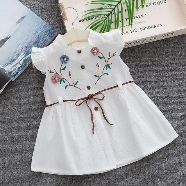 NEW Girls Childrens Toddler Summer Party Cotton Embroidered Dress