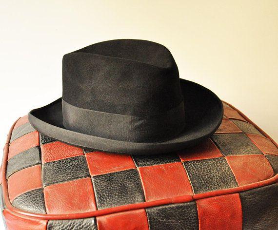 c035954f459 Antique Borsalino - Men Italian Black Felt Homburg Hat - Size 56 - 4 1 2 -  Romolo Bignotti - Venice