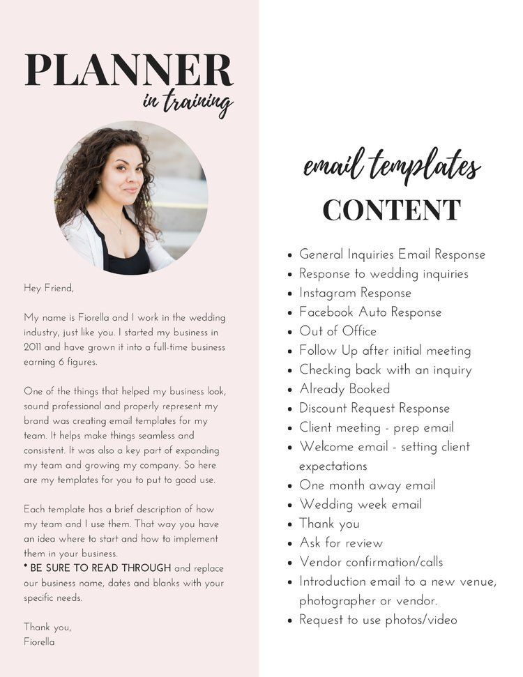 Email Templates For Wedding Planners Venues And
