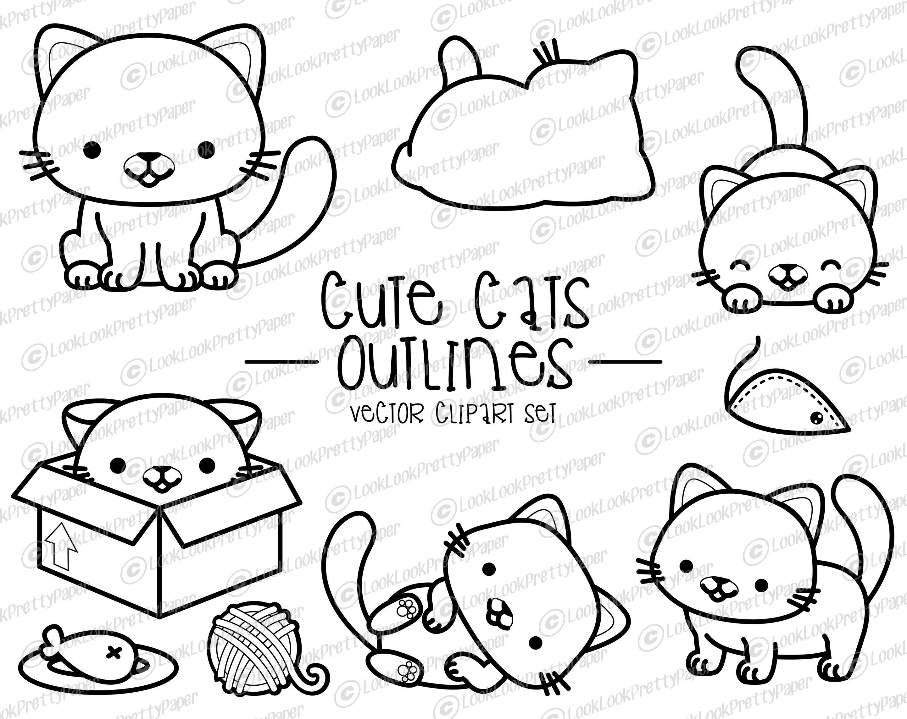 Premium Vector Clipart Kawaii Cat Outlines Cute Cat Etsy In 2020 Cat Outline Kawaii Cat Kawaii Clipart