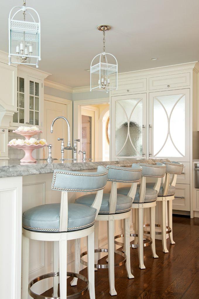 Download Wallpaper White Kitchen Saddle Stools
