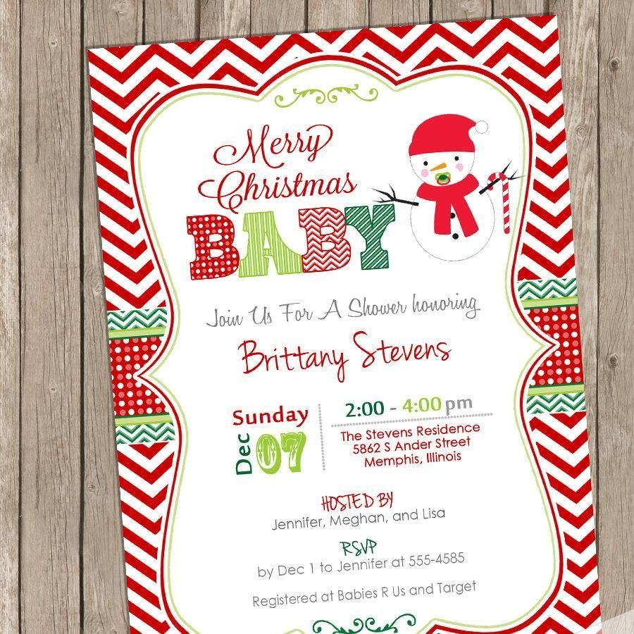 Snowman Christmas Baby Shower Invitation, baby shower invitation ...