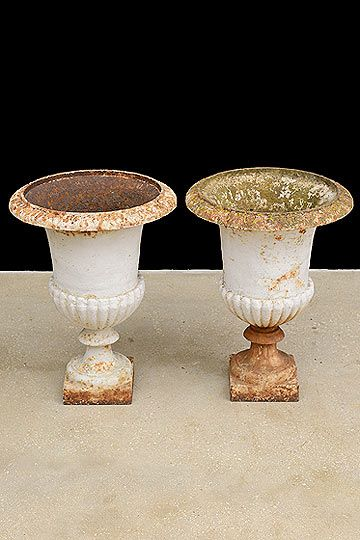 Pair Of French Antique Campana Cast Iron Garden Urns