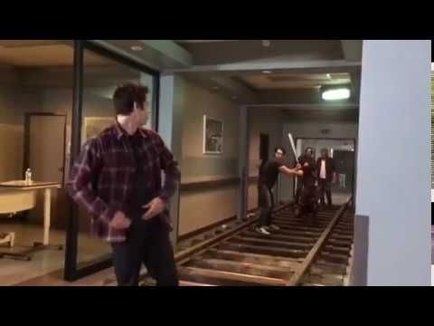 Dylan O'brien playing Baseball with Tyler Posey and Dylan Sprayberry on Teen Wolf set!