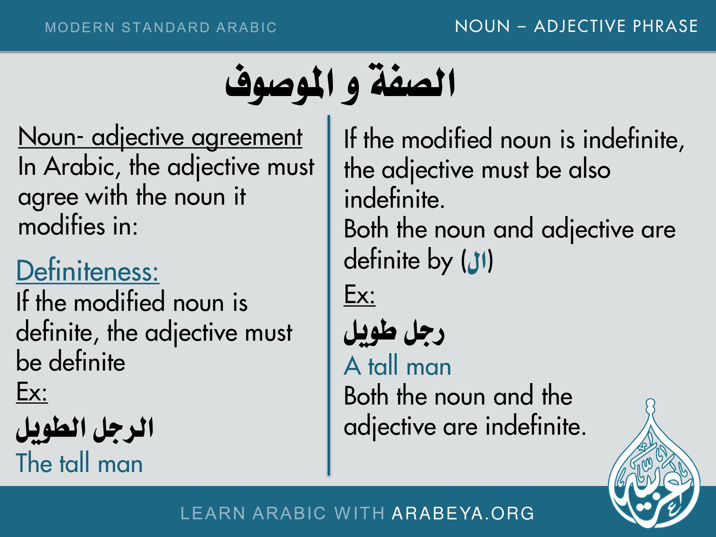 Noun Adjective Phrase Agreement Definiteness Noun Adjective