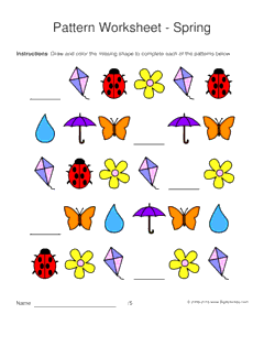 spring pattern worksheets for kids 1 2 3 pattern draw and color