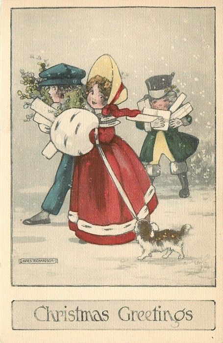 CHRISTMAS GREETINGS girl in red, hands in muff, dog left, boy right, another boy behind with presents