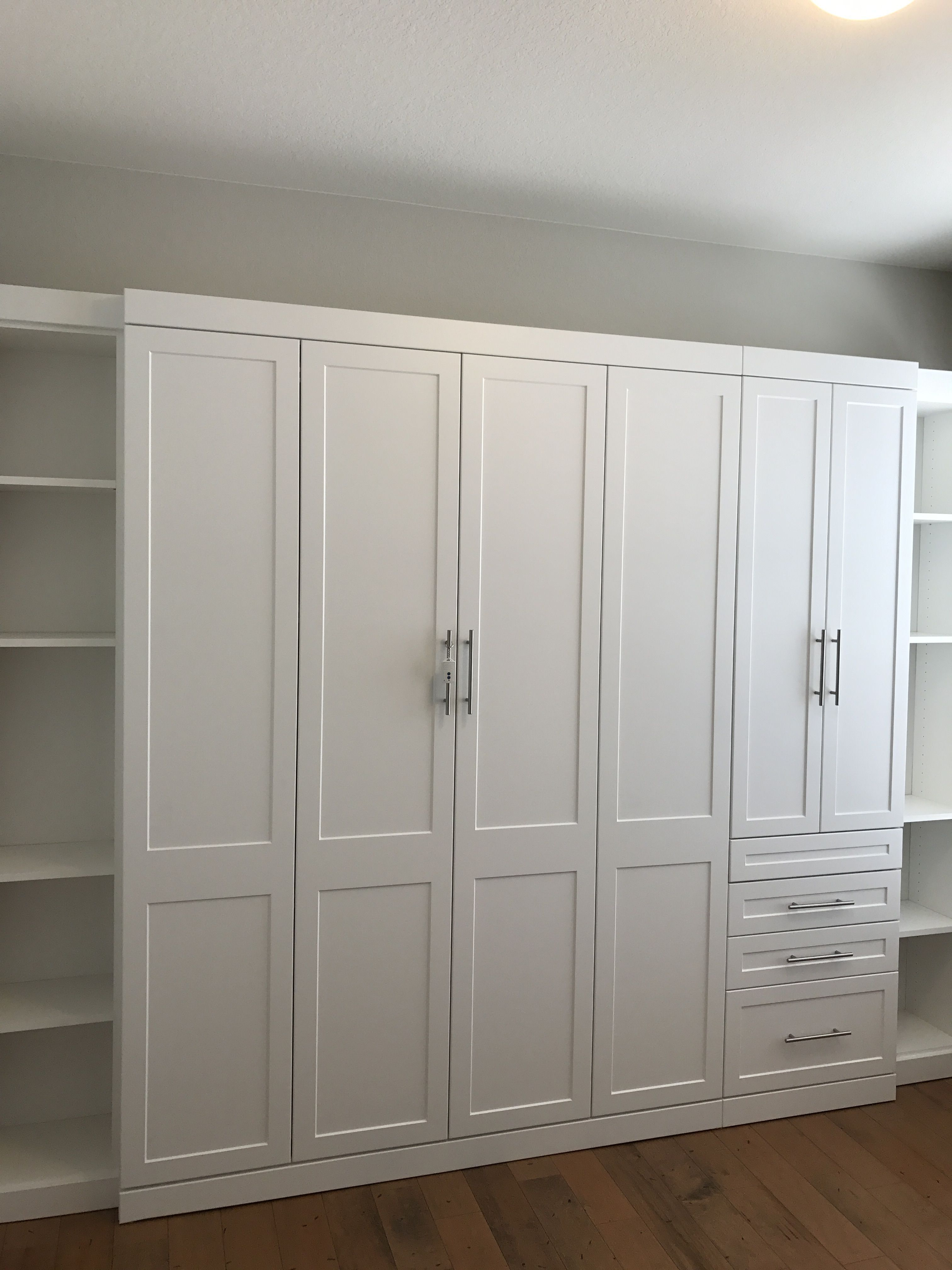 White Shaker Murphy Bed And Side Cabinets