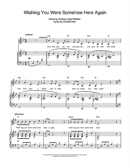 Wishing You Were Somehow Here Again From The Phantom Of The Opera Sheet Music Andrew Lloyd Webber Piano Vocal Sheet Music Digital Sheet Music Clarinet Music