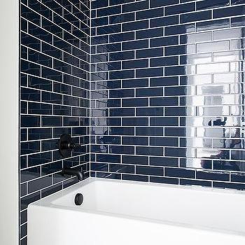 blue brick tiles with drop in bathtub | blue bathroom tile