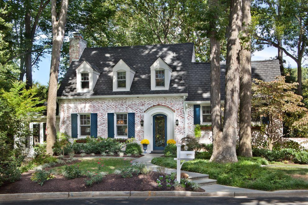 Brick Lime Wash Exterior Traditional With Cottage White Gates