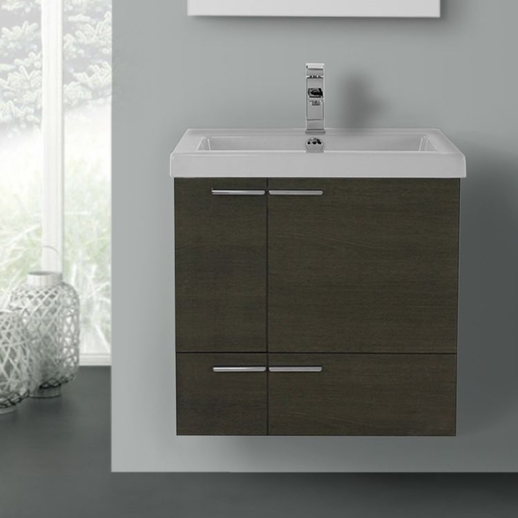 24 Wall Mounted Bathroom Vanity Available In 4 Finishes And Made In Italy Oak Bathroom Vanity Bathroom Vanity Modern Bathroom Vanity